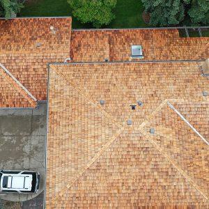 Overhead view of cedar roofing edmonton