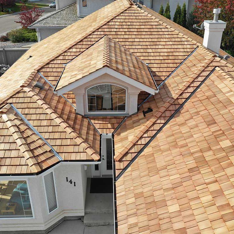 Close up of new cedar roof in edmonton