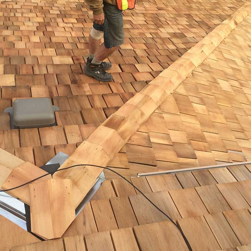 close up of new cedar roof in edmonton