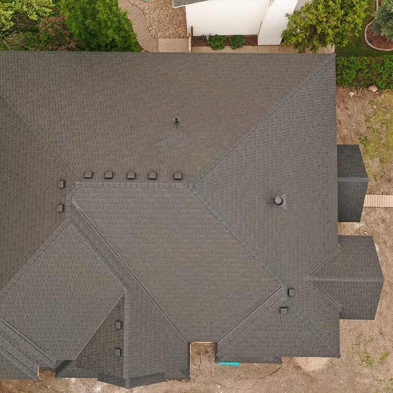 Overhead view of new roof edmonton